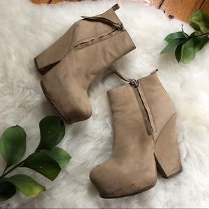 Matiko💕Split Wedge Leather Bootie Platform Chunky